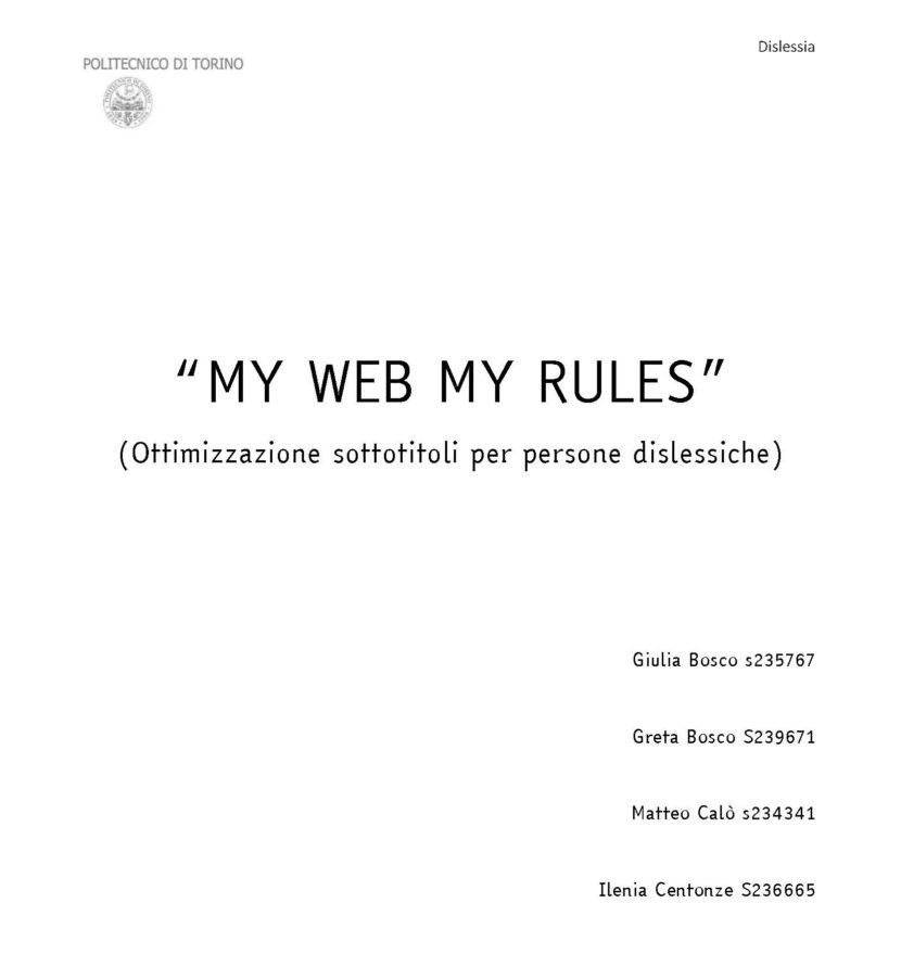 "La cover del progetto ""MY WEB MY RULES"" presentato in"